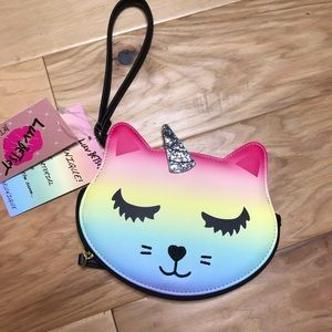 Betsy Johnson cat unicorn coin purse NWT